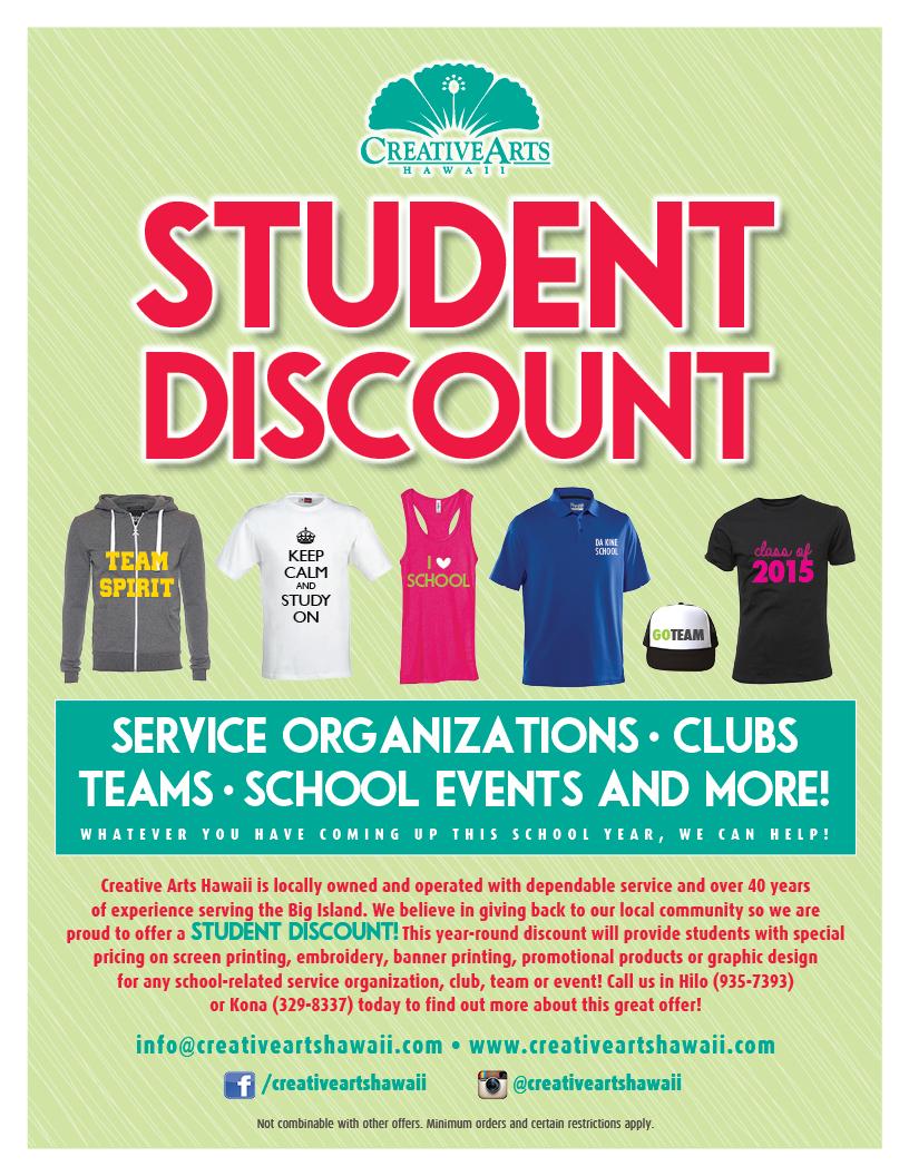 specials cah studentdiscount flyer